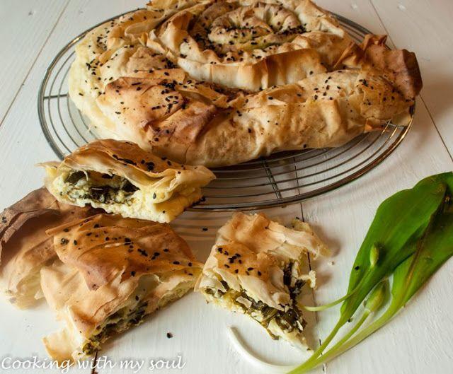 Placinta cu leurda si branza (Wild garlic and cheeses phyllo rolls)Cooking with my soul