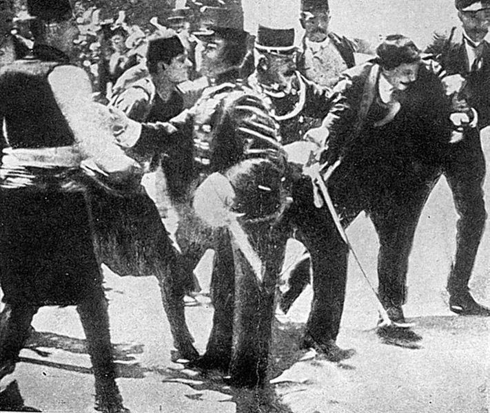 Gabro Princip just arrested by police, after his successfull attempt on life of prince Franz Ferdinand of Habsburg in Sarajevo, 28 June 1914