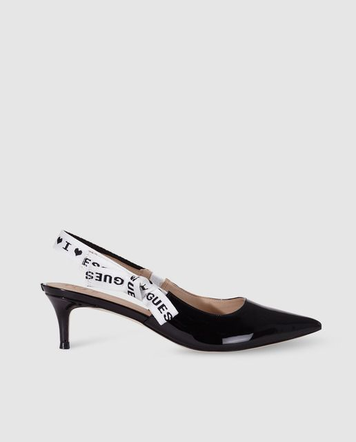 4940c1cfa9e6 Zapatos de salón de mujer Guess destalonados en charol negro · Guess ...