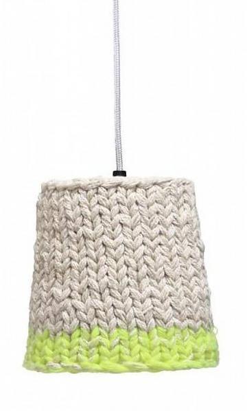 HK-living Hanglamp wit/neon groen gebreid textiel 20 cm #knitting #lampshade