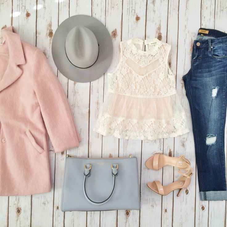 Pink coat, grey wool hat, lace top, grey tote, distressed jeans | outfit ideas from StylishPetite.com