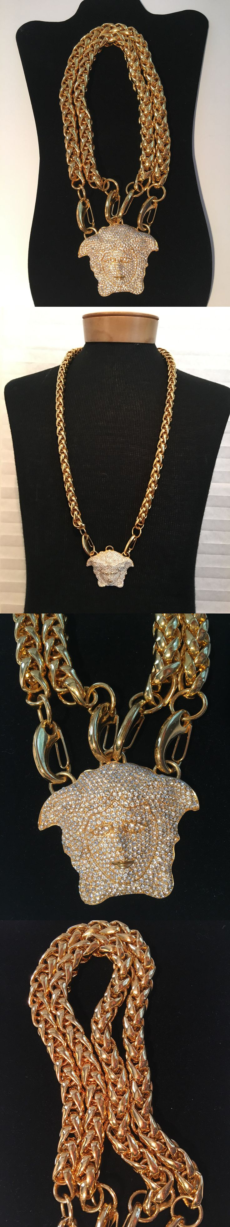 Necklaces and Pendants 155101: Nwt Authentic Versace Gold Crystal Medusa Head Chunky Chain Necklace -> BUY IT NOW ONLY: $1800 on eBay!