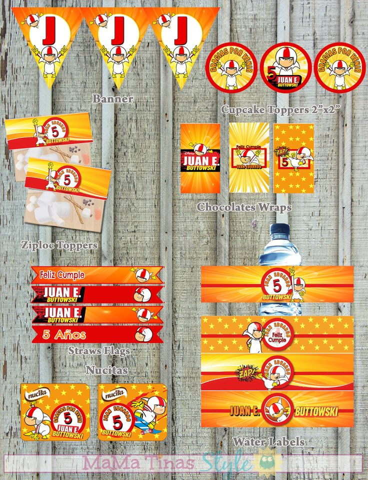 KIT Fiesta Kick Buttowski - Party Labels KIT - Ideas fiestas Kick Buttowski - Etiquetas para fiestas personalizadas - Kit imprimible Kick Buttowski