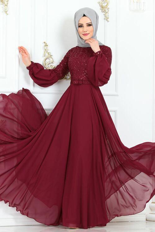 Modaselvim Abiye Kemerli Balon Kol Abiye Ech7308 Bordo The Dress Gelin Elbisesi Elbiseler