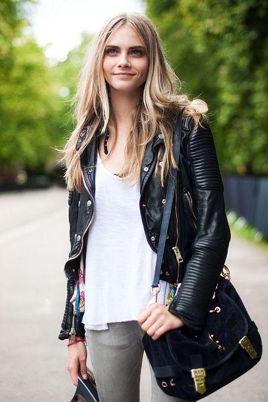 Leather motor white tee, grey skinnies, statement bag