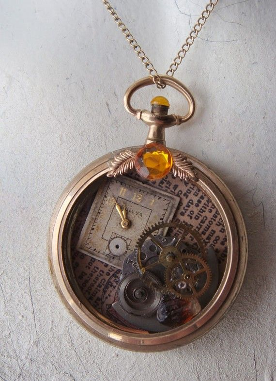 Quartz Upcycled Vintage Watch Pendant by Watchings on Etsy