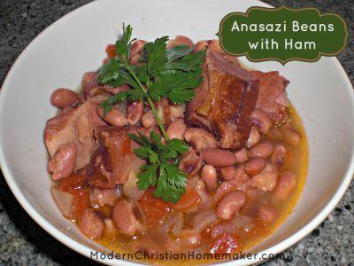 anasazi beans with ham-  this reminds me of a recipe my Grandma used to make.  Yum!
