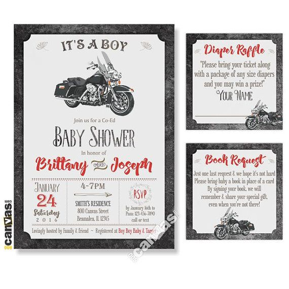MOTORCYCLE BABY Shower Invitation. Motorbike Baby Shower Invite. Its A Boy Baby Shower. Retro Baby Boy Shower Invite. Bike Rustic Shower, DiY Printable or Printed with FREE SHIPPING Hello, WELCOME to 800Canvas! All invitations in the shop are customizable to any events. All text can be