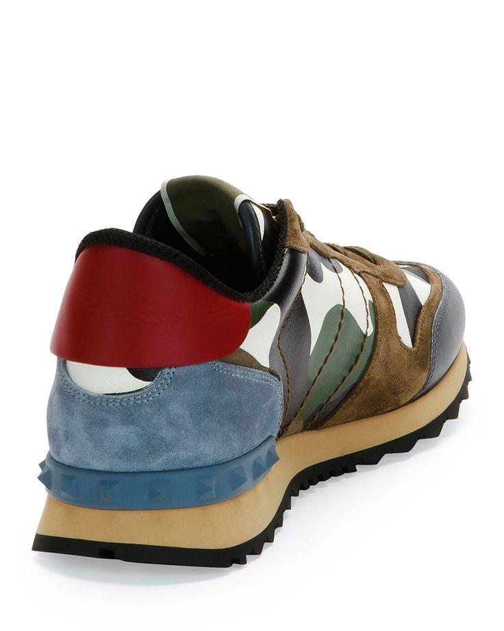 Valentino Rockrunner Camo-Print Sneaker, Black/Red