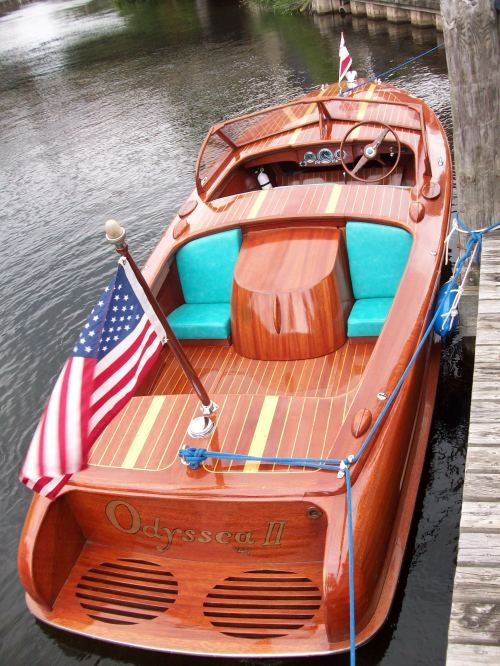 Chris Craft Boat.  This boat that you see is the Odyssea II and is owned by Chris Smith who is the grandson of Chris Craft founder Christopher Colombus Smith