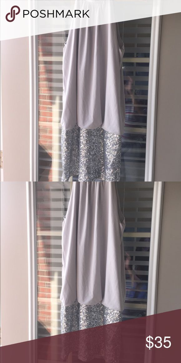 Silver One piece Dress with Sequence at the bottom Size L Fredericks of Hollywood One piece Silver and Sequence Dress, brand new, NEVER worn. Frederick's of Hollywood Dresses Mini