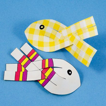 Paper Fish with yellow gingham on the reverse side