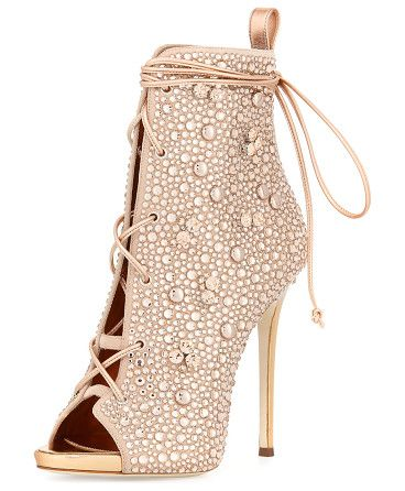 "Jeweled Lace-Up Open-Toe 120mm Bootie by Giuseppe Zanotti for Jennifer Lopez. Giuseppe Zanotti for Jennifer Lopez jeweled suede bootie. 4.8"" metallic heel. Open toe. Lace-up front ties around ank..."