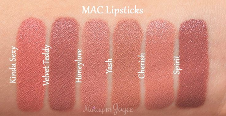 Mac nudes swatches: kinda sexy, velvet teddy, honeylove, yash, cherish, and spirit