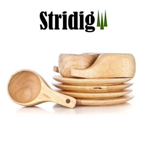 Turkopper og -tallerkener i tre – fire kopper og tallerkener egnet til tur