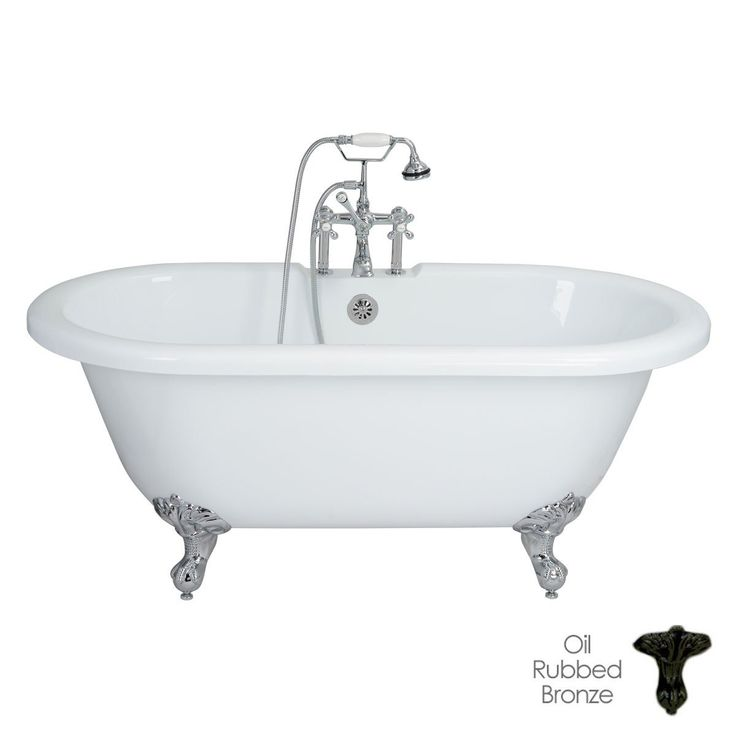 Randolph Morris 60 Inch Acrylic Double Ended Clawfoot Tub Rim Drillings - Ball and Claw Feet