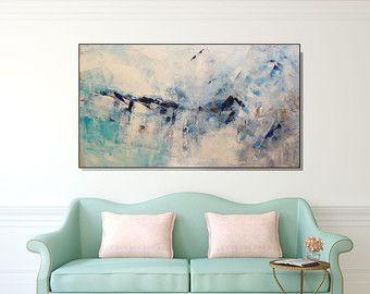 Cerceta azul muy GRANDE lona impresión pared arte por ShoaGallery