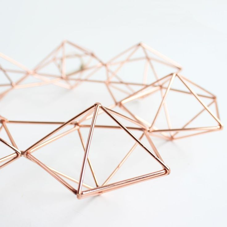 "Copper Wire Geometric Himmeli Wreath<br>12"" Diameter"