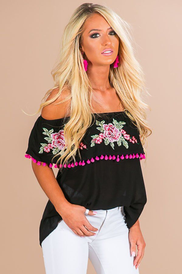 82b32a204c870 Meet Me In Montego Off Shoulder Top In Black- 49 Get on vacay time in this  festive off shoulder top! This black top showcases an e…