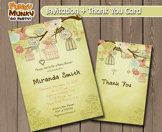 Baby Shower Invitation  Rustic Bird Cage by funkymunkygoparty