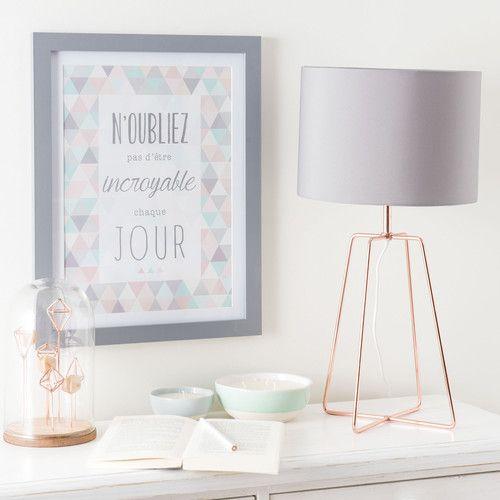 Lampe En Metal Cuivre Et Abat Jour Gris H 49 Cm Chambre Cocooning