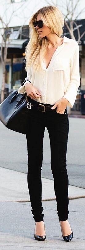 classic style- white blouse, black skinny jeans, black heels, black bag