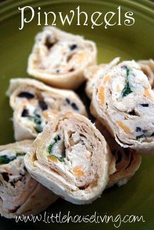 Pinwheels  (add a dry packet of ranch)      8 oz. cream cheese     1/4 c. sour cream     1 t. garlic salt (or 1/2 t. garlic powder and 1/2 t. salt)     1/2 c. chopped green onions     1/4 c. shredded cheddar cheese     1/2 c. chopped black olives     3 or 4 tortillas