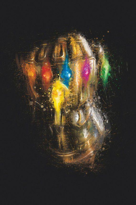 The Avengers End Game, Thanos Infinity Stone Gauntlet Marvel Universe, Poster Wall Art Decor Superhero Print