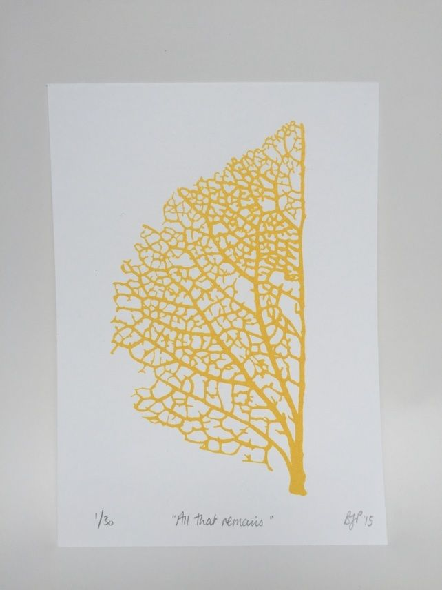 This fragile leaf skeleton is almost like a road map! 'All that Remains' Screen Print (Gold) £12.00