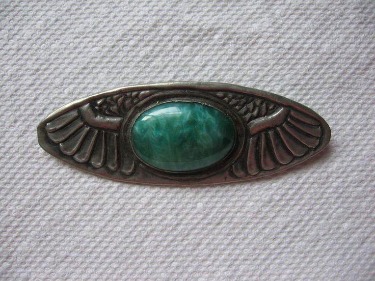 Antique Victorian Egyptian Revival Wingspan Czech Green Glass Stone Brooch Pin | eBay