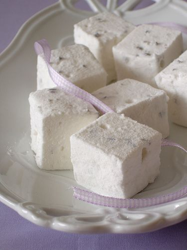 Lavender marshmallows  adapted from Donna Hay magazine    4 tablespoons powdered gelatin  1 cup (240ml) warm water  660g caster sugar  1 1/3 cups glucose syrup  2/3 cup water, extra  3 tablespoons dried edible lavender*  200g confectioners' sugar, sifted  35g (about 3 tablespoons) corn starch