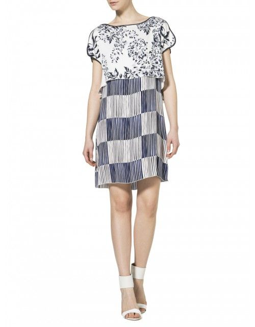 Dress in doubled-over print