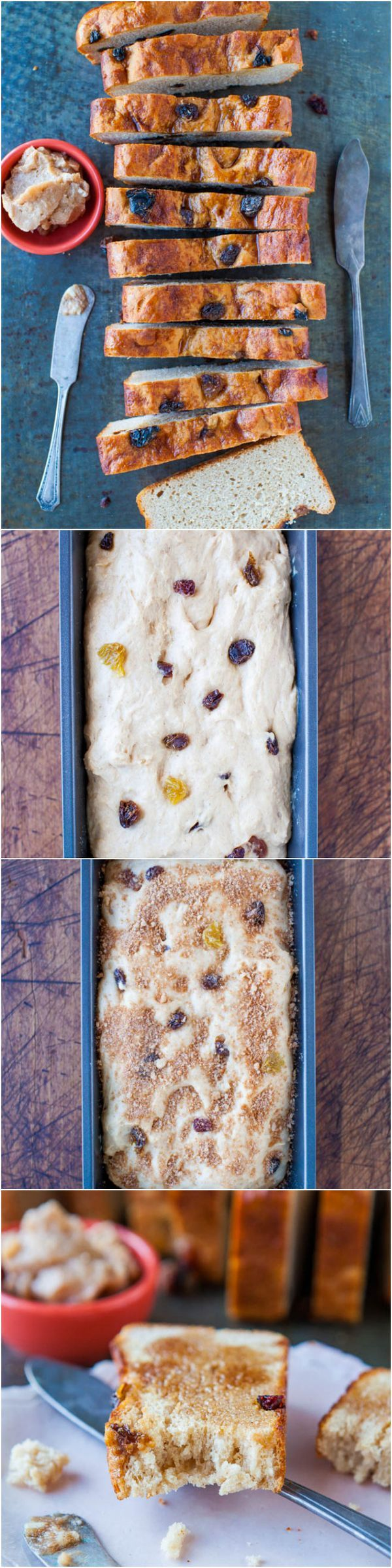 Cinnamon Raisin English Muffin Bread with Cinnamon Sugar Butter - No-knead, foolproof recipe so you don't have to buy English muffins anymore!