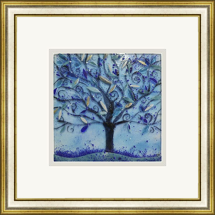 'Winter' by Edel Taggart. This piece has been hand crafted, fused & framed by Spires Art in Omagh. This piece is available in a variety of sizes.