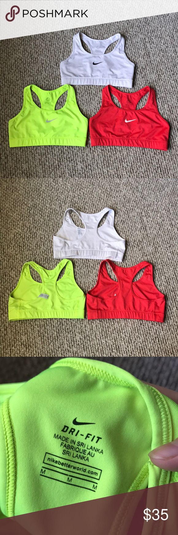 Nike Training Bras Bundle of 3. All have been worn a few times. No flaws. Nike Tops