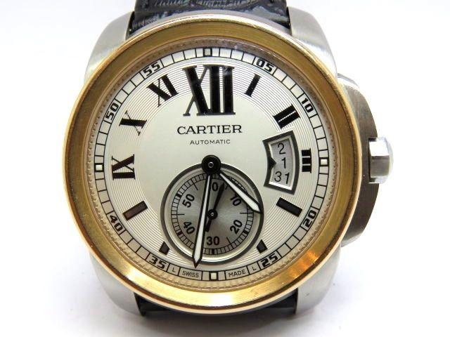 CARTIER CALIBRE DE CARTIER AUTOMATIC STEEL & ROSE 18K. GOLD DATE USED MEN WATCH