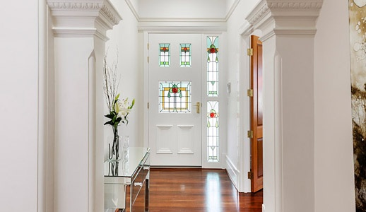 Front Entry With Leadlight Door Jarrah Floors Cambuild