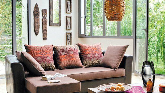 ethnic style cushions, wall, lamp