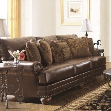 Ashley Furniture Chaling Leather Sofa in Antique | Jet.com