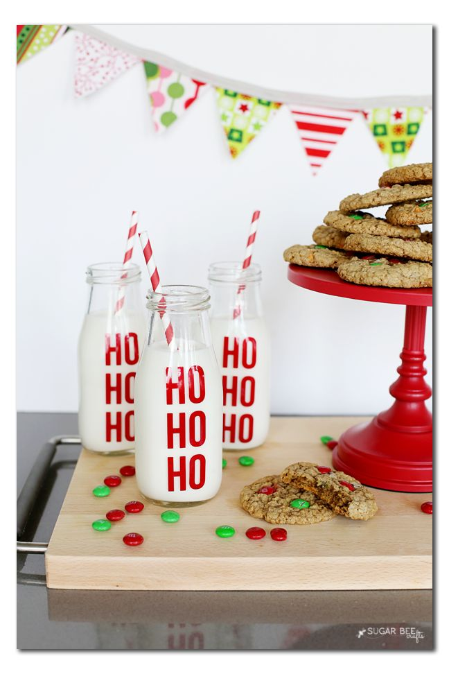 Ho Ho Ho Milk Jars - Sugar Bee Crafts