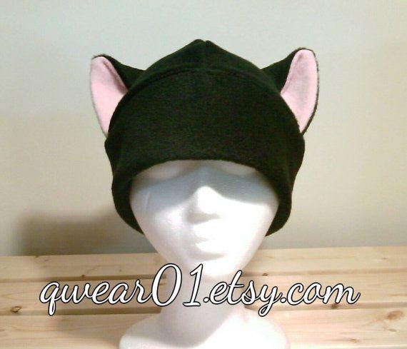 Pink Ears fleece black cat cat ears hat Kitty Cat hat por qwear01