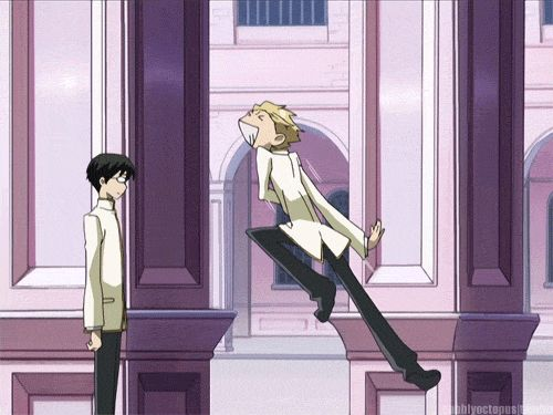 Tamaki and Kyoya, their friendship in a single gif.