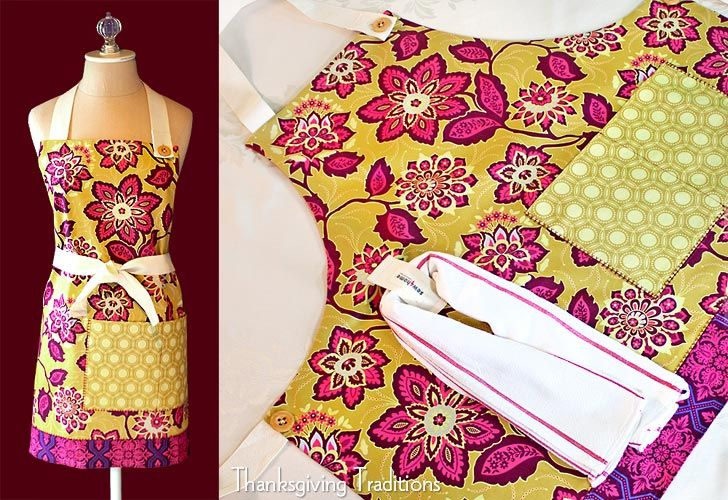Easy to sew apron.Heirloom Aprons, Thanksgiving Traditional, Aprons Pattern, Sewing Projects, Free Pattern, Towels Loop, Apron Patterns, Sewing Tutorials, Aprons Tutorials