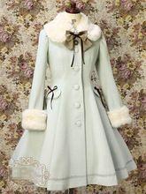 Lolita Sweety Gola De Penas Arco Casaco De Lã Único Breasted Traje Cosplay Frete Grátis(China (Mainland))
