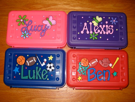 This would be a good activity- Personalized Pencil Box. $6.50, via Etsy.