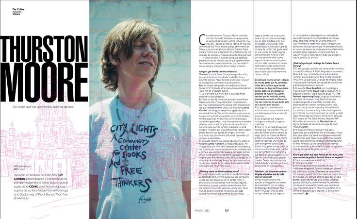 De Culto: Thurston Moore  #ThurstonMoore #SonicYouth #FestivalMarvinCDMX #RevistaMarvin #Marvin #ArtDirection #Magazine #EditorialDesign #Editorial #GraphicDesign