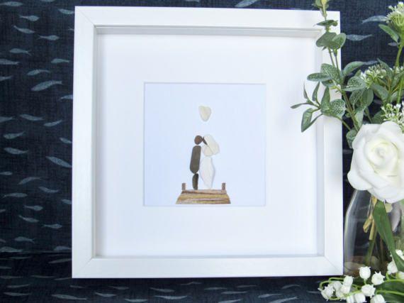 wedding memento, beach wedding frame decor,  wedding gift for engaged couple, wedding picture frame, wedding pebble picture, rustic weddings