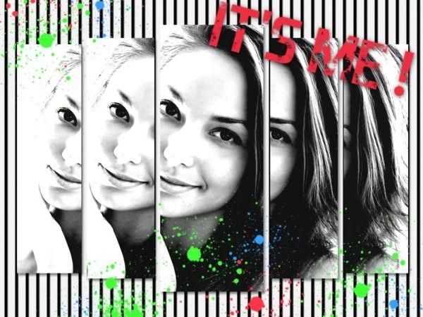 Fotomontaggio Foto in bianco e nero ritaglio macchie - Pixiz