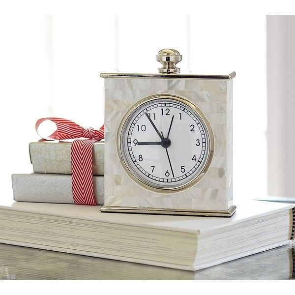 Pottery Barn Mother Of Pearl Clock (1,415 MXN) ❤ liked on Polyvore featuring home, home decor, clocks, battery powered alarm clock, desktop alarm clock, battery operated alarm clock, mother of pearl home decor and battery operated clock