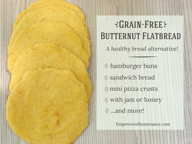 Grain Free Butternut Flatbread makes an easy and healthy bread alternative. Use it for sandwiches, hamburger buns and even mini pizza crusts...